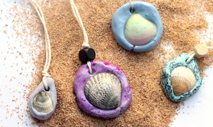 pâte fimo idée bijoux coquillage