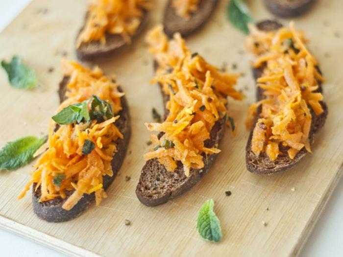 recette bruschetta au pain noir et carottes
