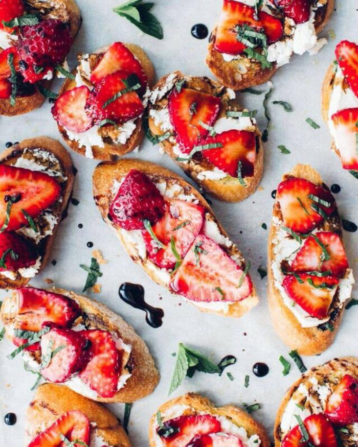 recette bruschetta aux fraises et fromage