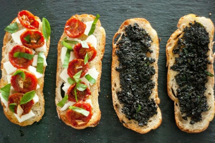 recette bruschetta pâte d'olives noires et tomates