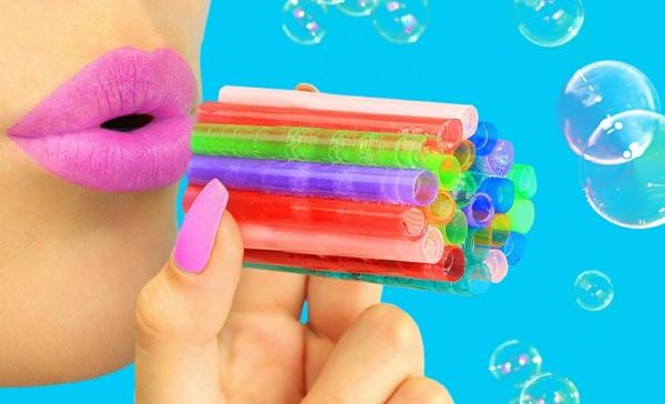 recette bulles de savon diy baguette à bulles pailles en plastique