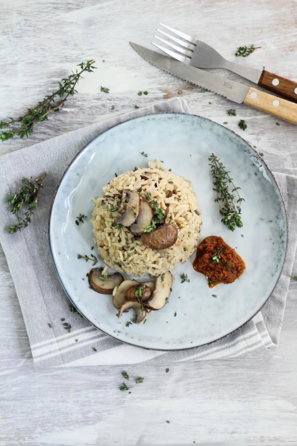 recette pesto rosso risotto vegan champignons crème fraîche et pesto rosso