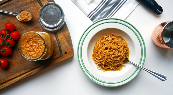 recette pesto rosso spaghetti