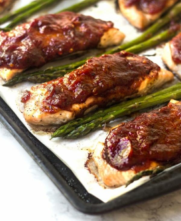 recette saumon à la sauce de rhubarbe