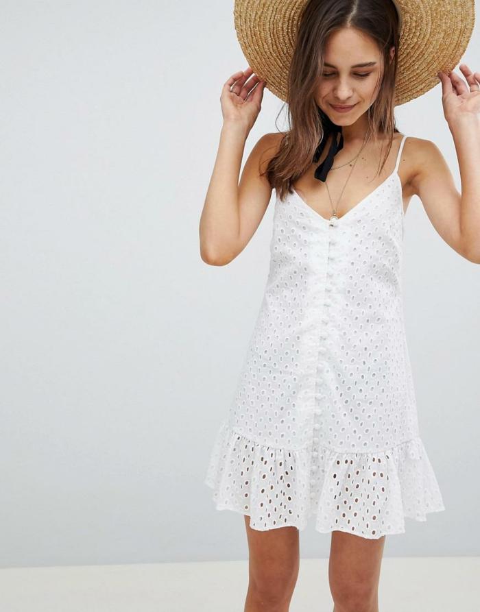 robe boutonné devant courte à broderie anglaise