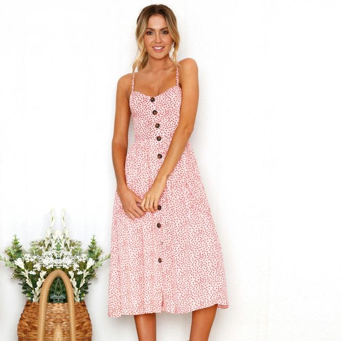 robe boutonnée devant à motifs floraux