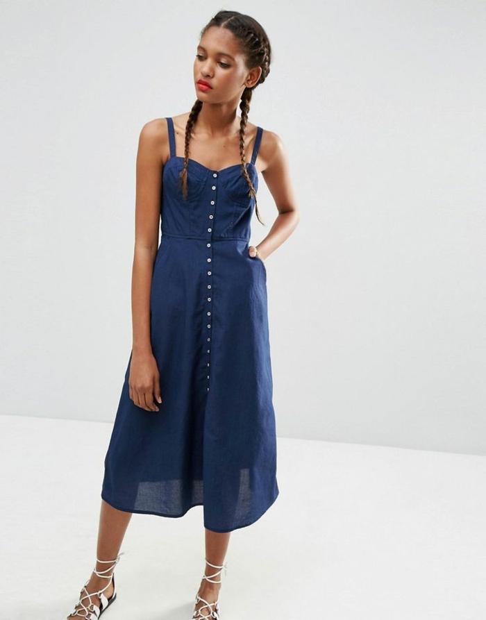 robe boutonnée devant couleur bleu foncé