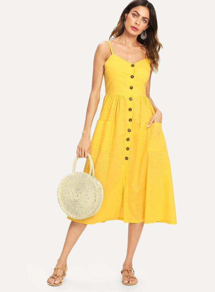 robe boutonnée devant couleur jaune