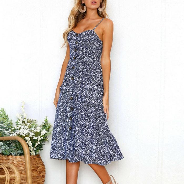 robe boutonnée devant fleurie