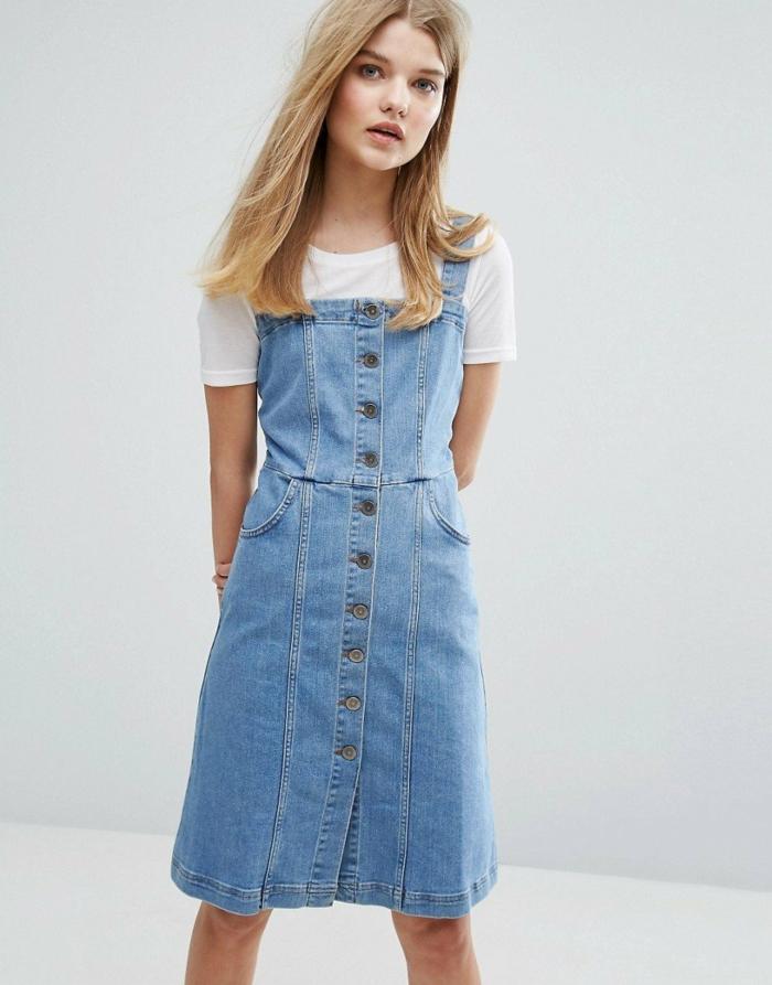 robe boutonnée devant modèle en jean
