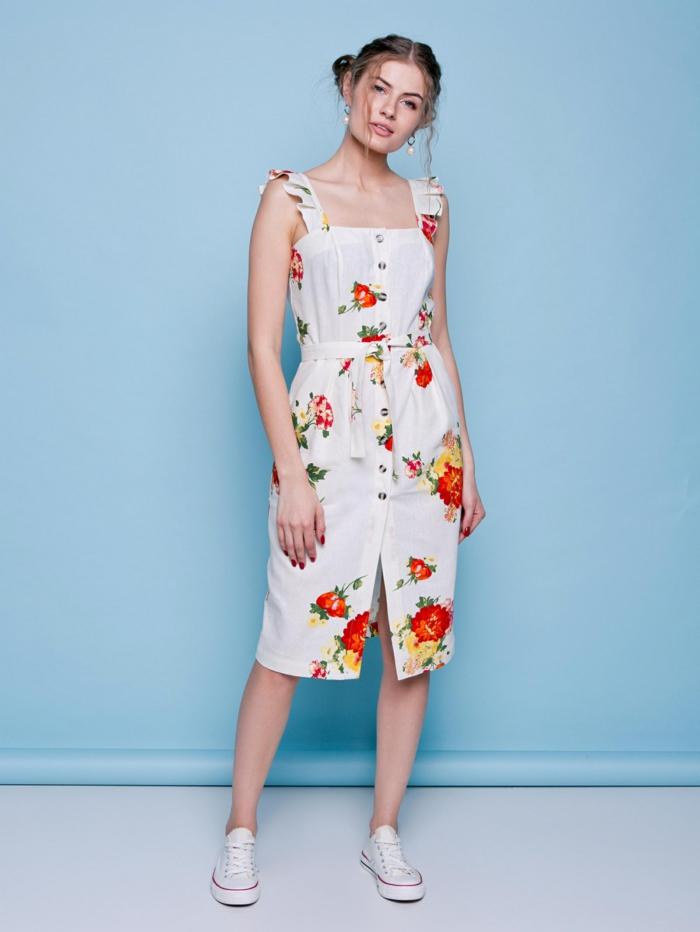 robe boutonnée devant motifs floraux mode 2019