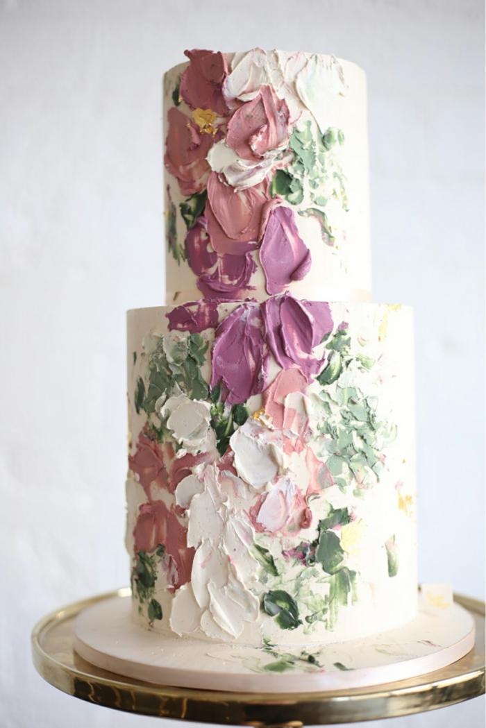 tendance coups de pinceau gâteau de mariage 2