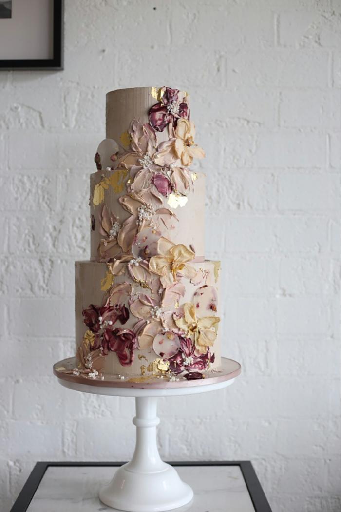 tendance coups de pinceau gâteau de mariage
