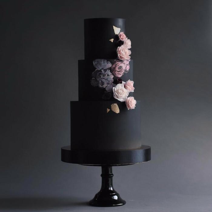 tendance gâteau de mariage noir