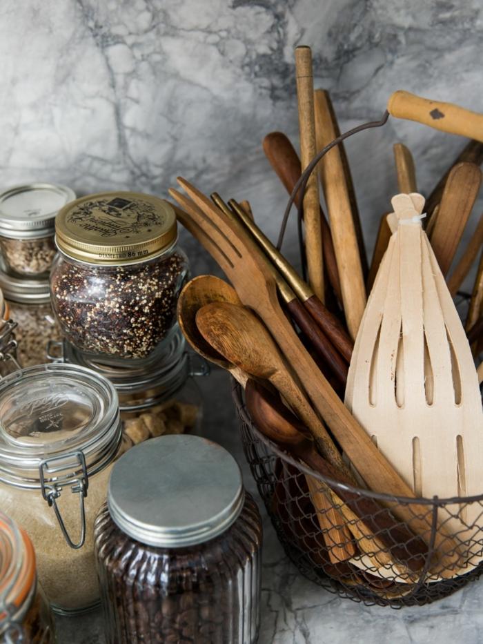 ustensiles en bois cuisine zéro déchet