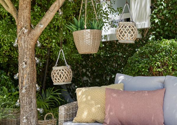 éclairage de jardin paniers en bambou