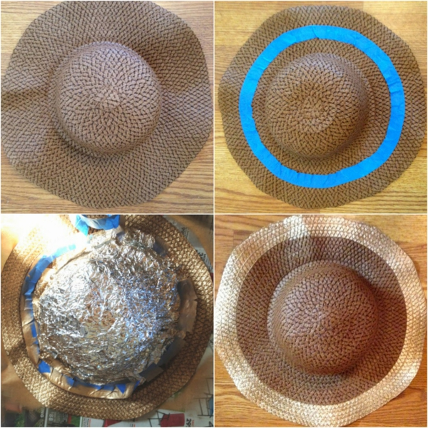 Chapeau de paille personnalisé à bord doré DIY