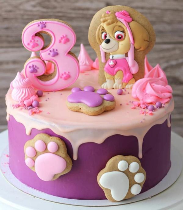 Gâteau Pat Patrouille - recettes et 50 idées de design gâteau anniversaire fille 3 ans déco biscuits chien stella