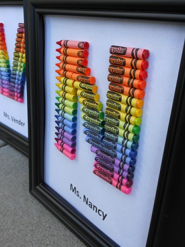 Idée cadeau maîtresse pour dire merci à la fin de l'année scolaire tableau personnalisé pastels