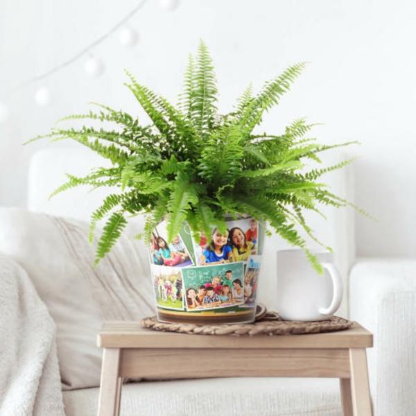 Idée cadeau maîtresse pour dire merci à la fin de l'année scolaire vase personnalisé avec photos