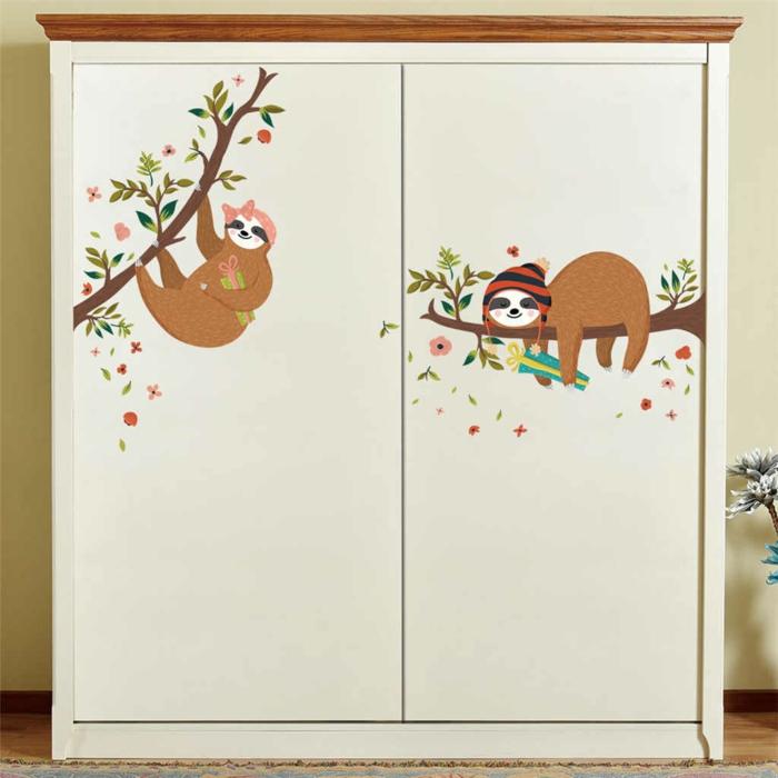 armoires déco avec sticker le paresseux