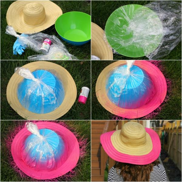 diy chapeau de paille personnalisé déco bord coloré