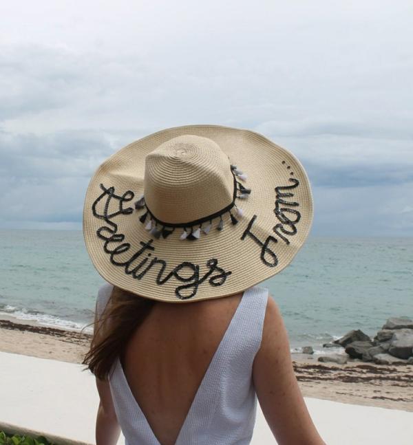 diy chapeau de paille personnalisé déco broderie message