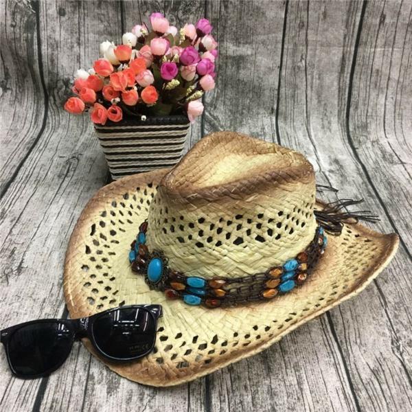 diy chapeau de paille personnalisé déco fausses pierres précieuses
