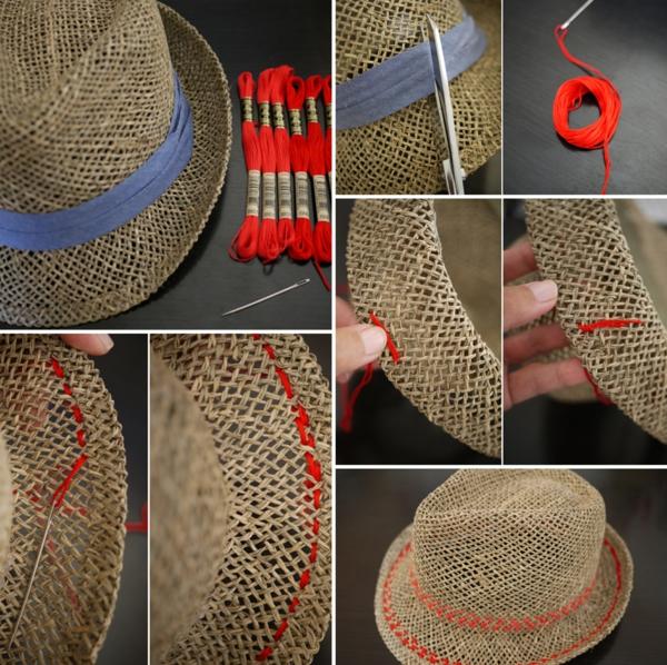 diy chapeau de paille personnalisé déco fil à broder rouge