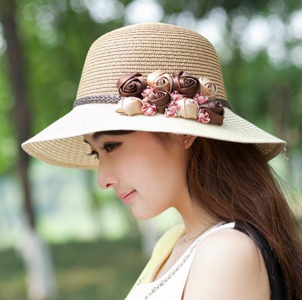 diy chapeau de paille personnalisé déco fleurs en textile