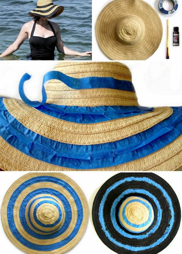 diy chapeau de paille personnalisé déco peinture ruban décoratif
