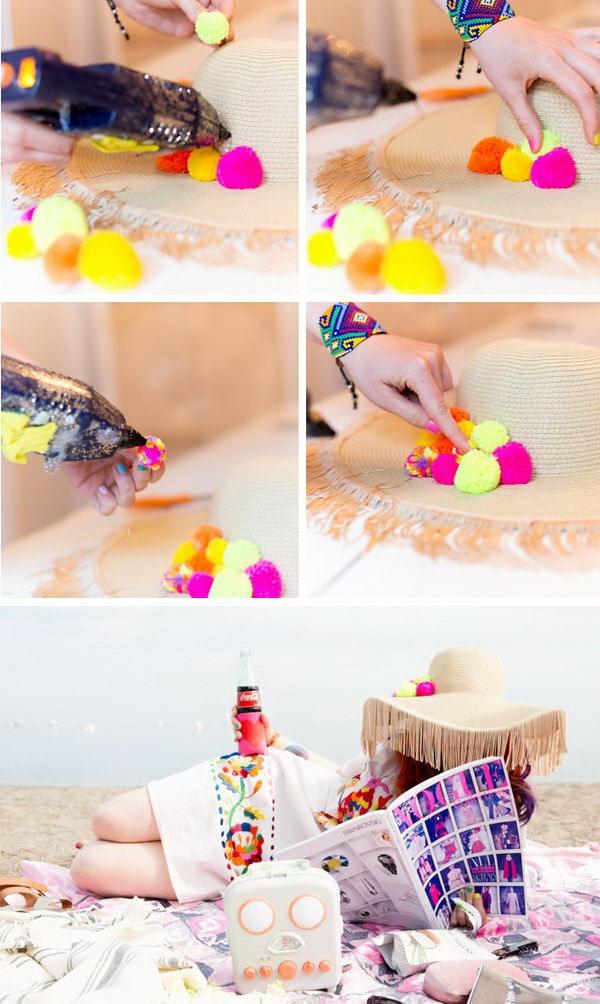 diy chapeau de paille personnalisé déco pompons fil à tricoter