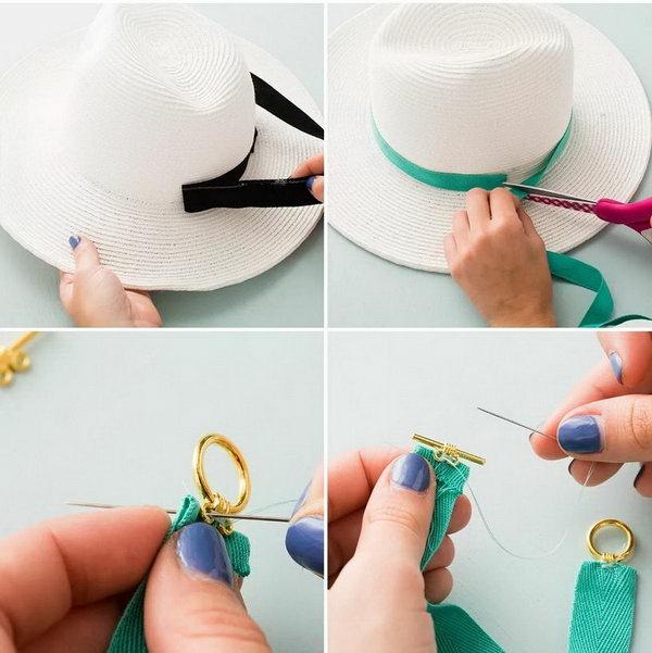 diy chapeau de paille personnalisé déco ruban coloré