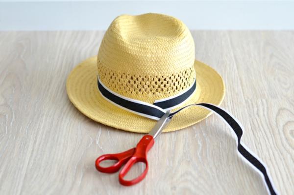 diy chapeau de paille personnalisé déco ruban modèle épuré