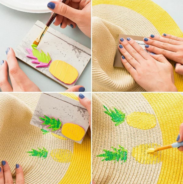 diy chapeau de paille personnalisé déco tampon encreur motif ananas