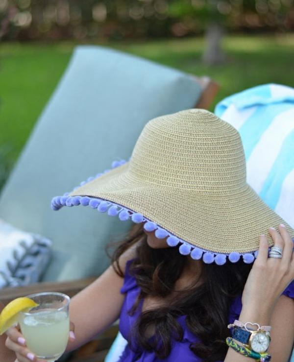 diy chapeau de paille personnalisé déco tampons