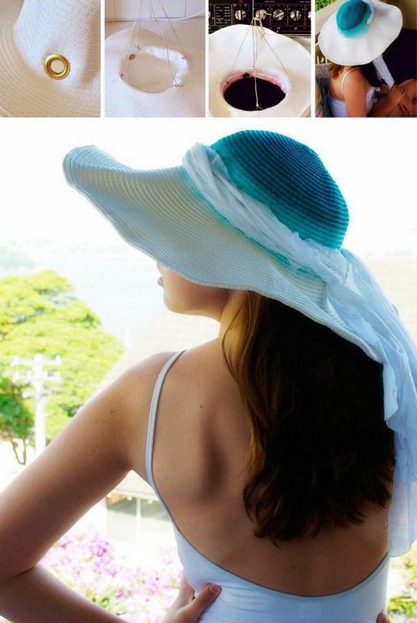 diy chapeau de paille personnalisé déco tie and dye