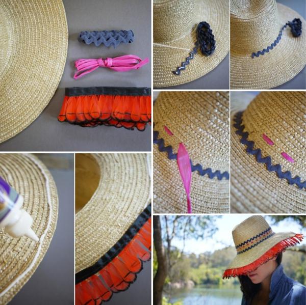 diy chapeau de paille personnalisé décoration différents types de ruban décoratif