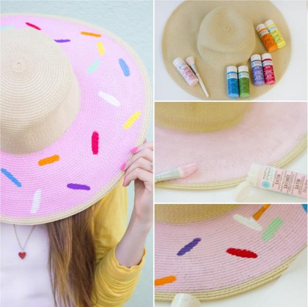 diy chapeau de paille personnalisé forme de donut