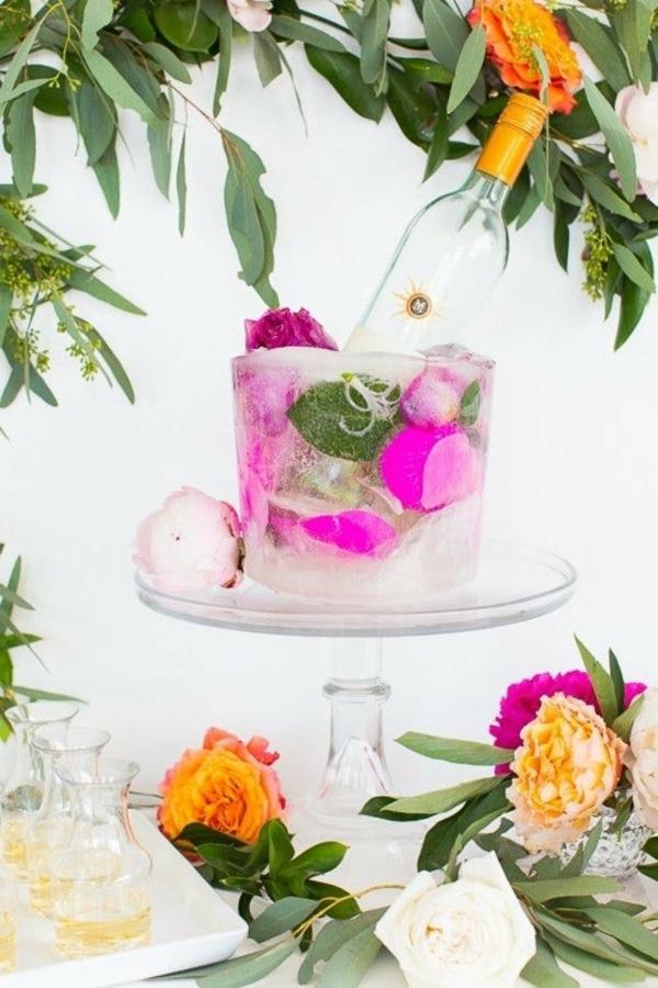 idée déco de table baby shower seau à glace fleuri diy