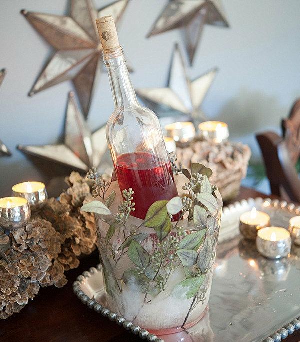 idée déco de table hiver seau à glace fleuri diy