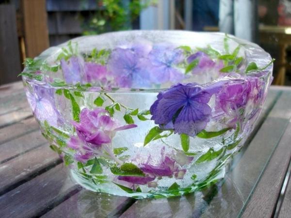 idée déco de table printemps seau à glace fleuri diy