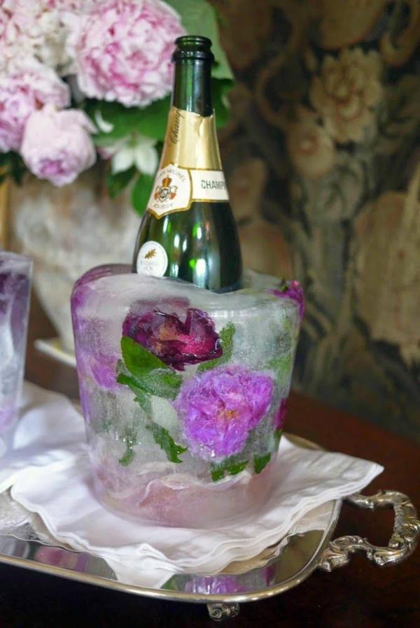 idée déco de table seau à glace fleuri à faire soi-même