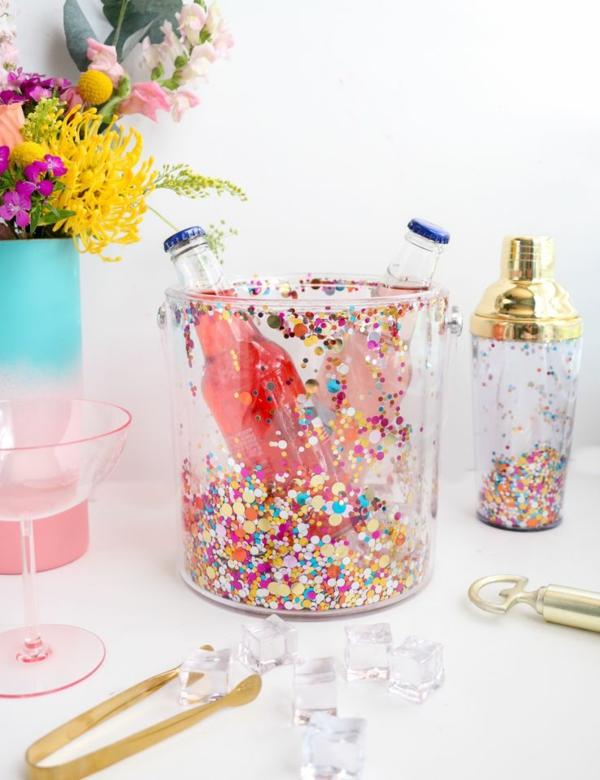 idée déco de table seau à glace fleuri diy avec des confettis