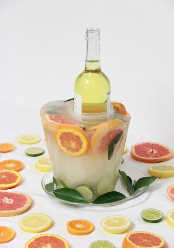 idée déco de table seau à glace fleuri diy citron et orange