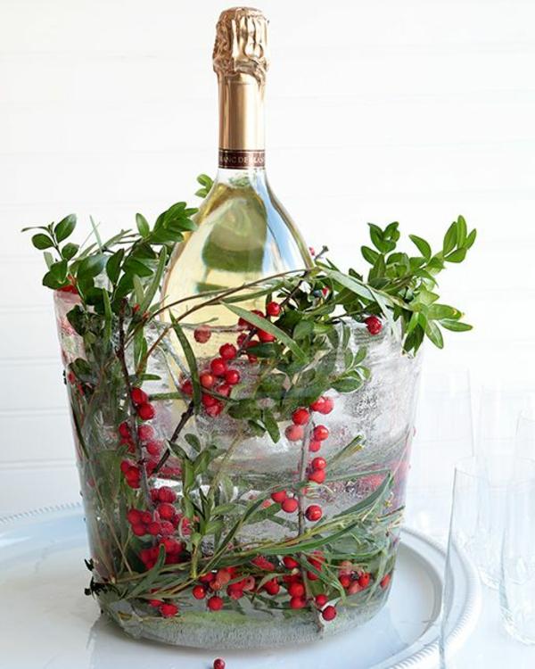 idée déco de table seau à glace fleuri diy fête de noël