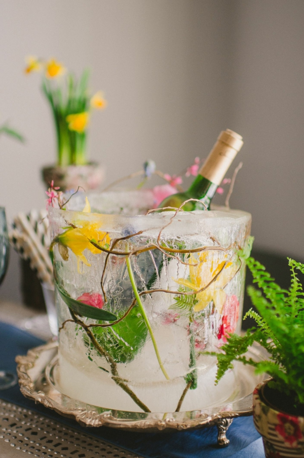 idée déco de table seau à glace fleuri diy fêtes de printemps