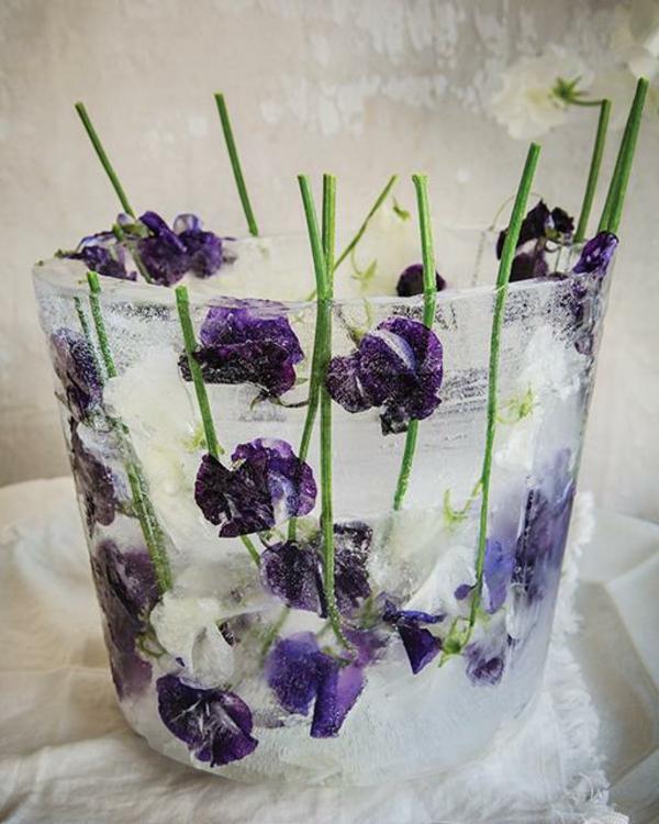 idée déco de table seau à glace fleuri diy fleurs de printemps