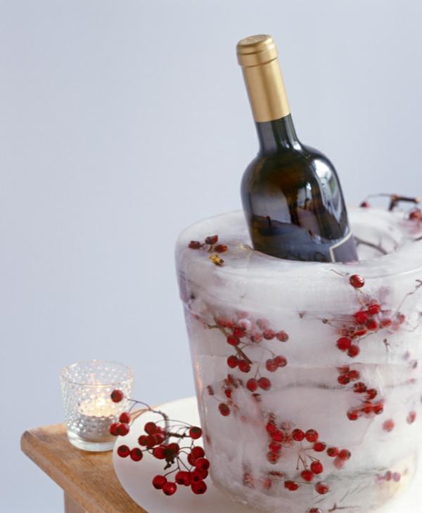 idée déco de table seau à glace fleuri diy fruits d'hiver