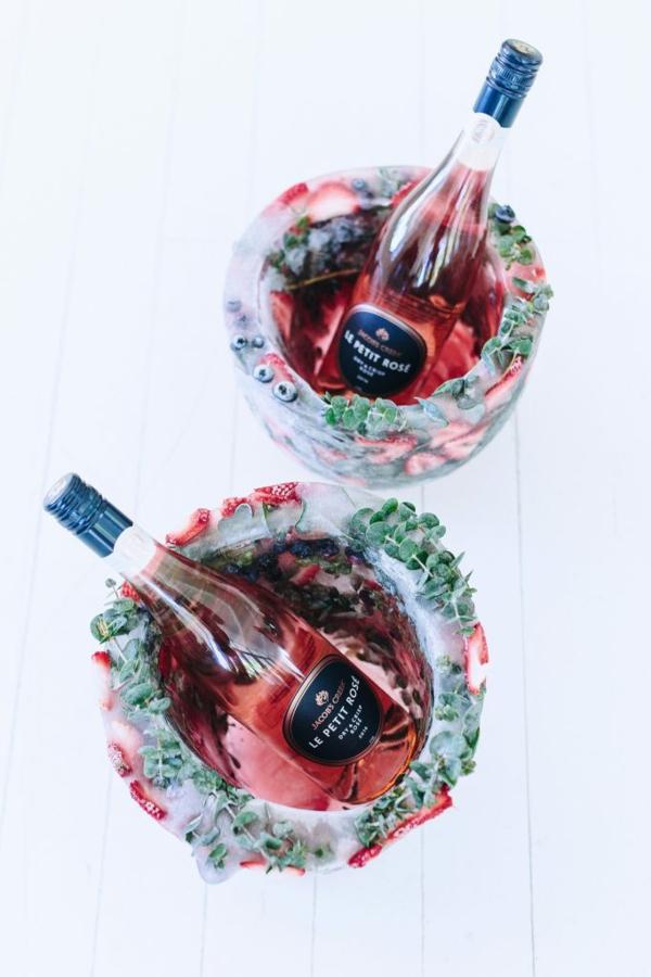 idée déco de table seau à glace fleuri diy fruits et herbes